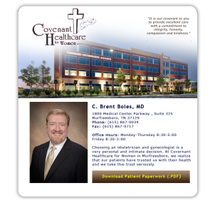 Brent Boles, MD ~ Covenant Healthcare for Women
